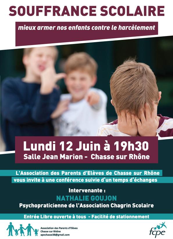 FCPE - CHASSE SUR RHONE - Conférence Harcèlement Ecole